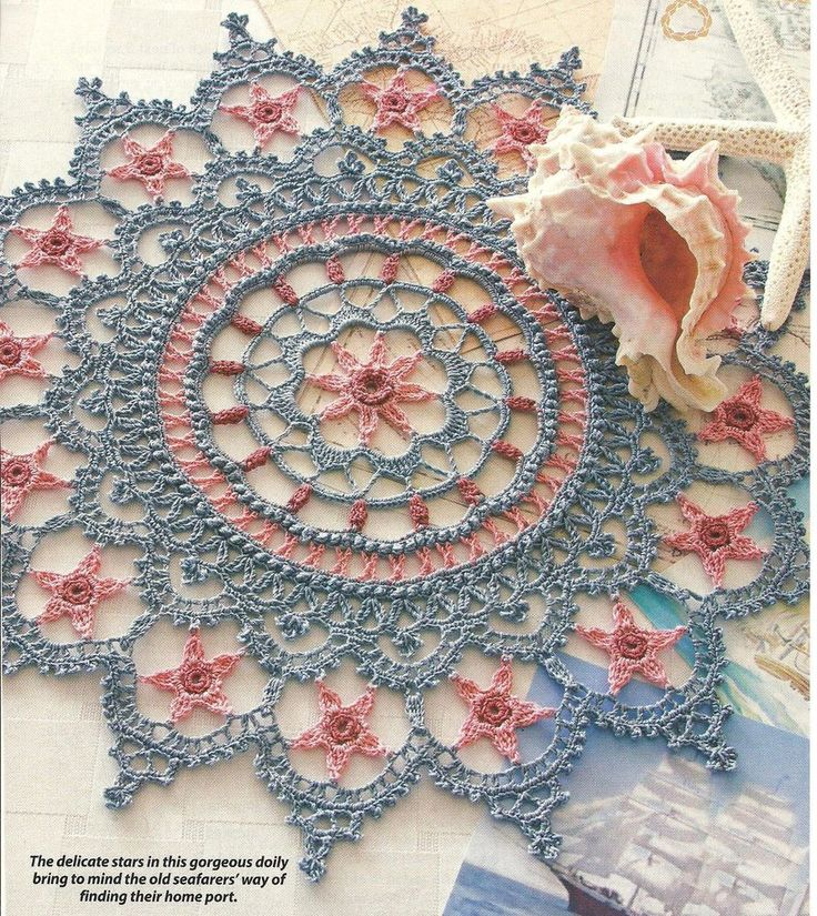 PHOTO ONLY ~ Follow the Stars Home Doily crochet  ~ June Crochet World ? year