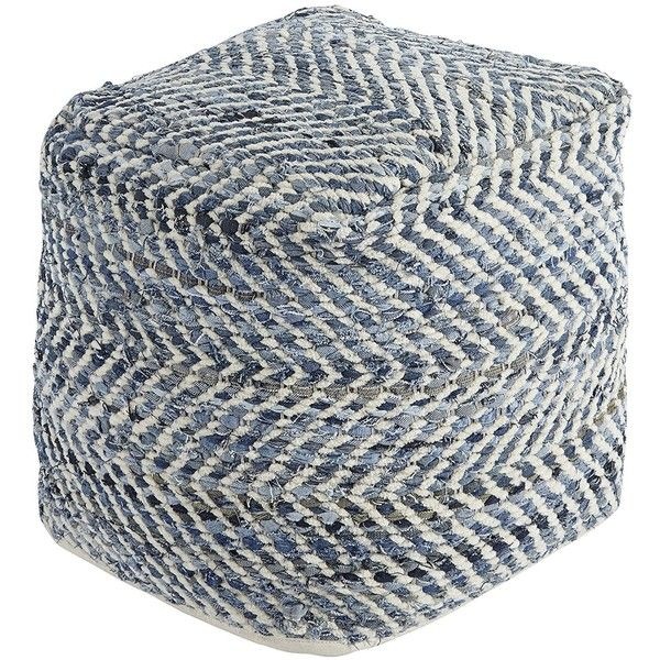 Signature Design by Ashley A1000445 Transitional Pouf, Blue ($75) ❤ liked on Polyvore featuring home, furniture, ottomans, storage furniture, blue ottoman, blue footstool, transitional furniture and blue furniture