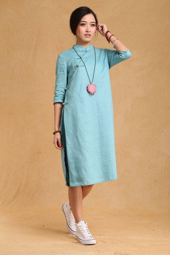 Chinese folk style button Neck Spring dress Half Sleeve Sundress Maxi Dresss in Light Green
