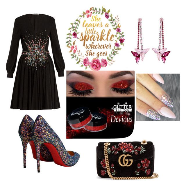 """""""A little sparkle"""" by styles-bykim on Polyvore featuring Gucci, Miu Miu, Christian Louboutin and Henri Bendel"""