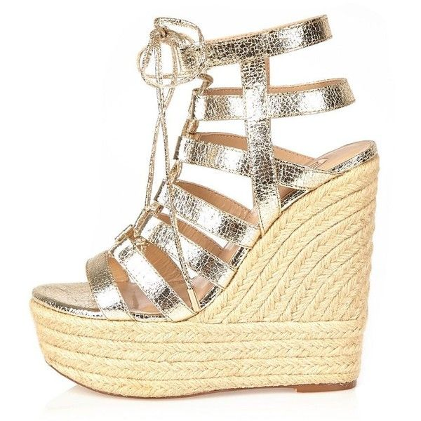 River Island Gold gladiator wedges ($72) ❤ liked on Polyvore featuring shoes, gold, shoes / boots, wedges, women, strap shoes, lace up wedge shoes, strappy wedge shoes, gold wedge shoes and platform lace up shoes