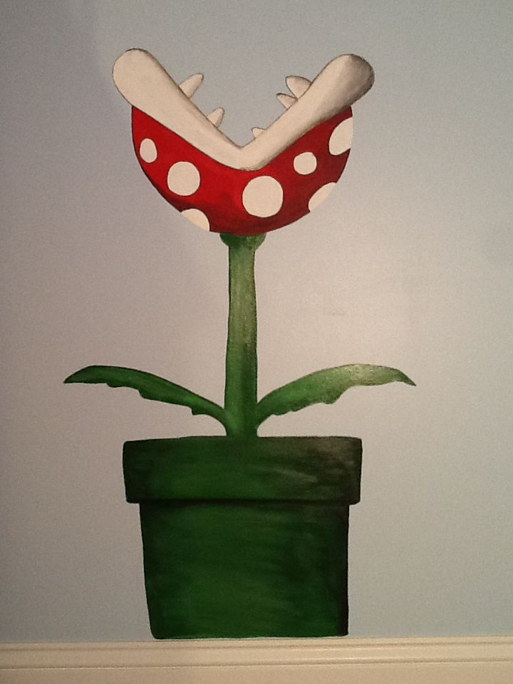 hand painted mario bedroom piranha plant