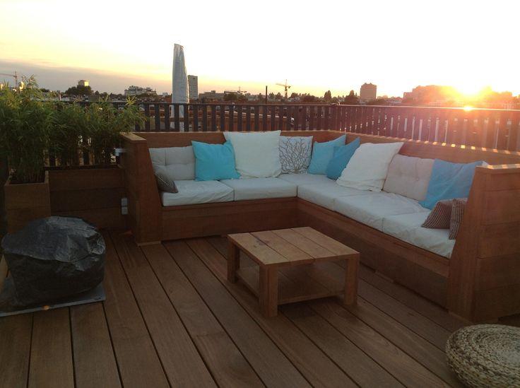 Dakterras Amsterdam, duurzaam hout, tuinbank, roof terrace, durable wood, garden bench
