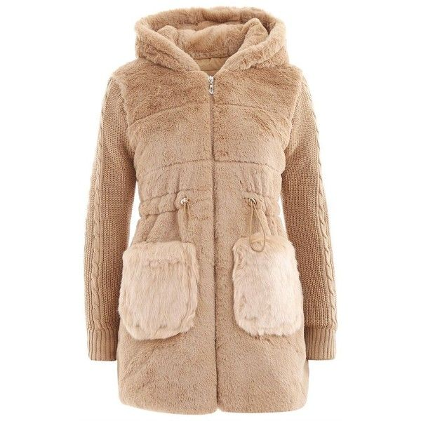 Christmas Furry Pocket Hooded Fuzzy Coat Fashion ❤ liked on Polyvore featuring outerwear, coats, beige coat, fuzzy coat, hooded coat and pocket coat