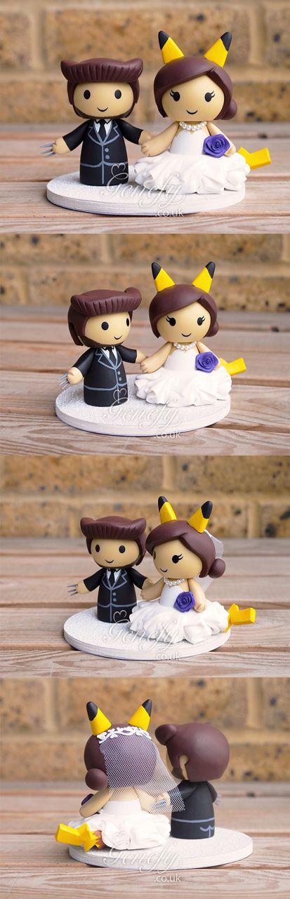 Wolverine Logan and Pikachu bride wedding cake topper by GenefyPlayground  https://www.facebook.com/genefyplayground