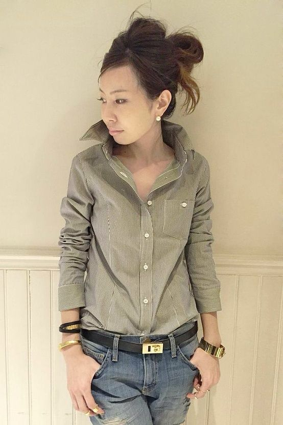 カーキのstripeShirt×LiteblueのdamageJeansがgood☆ 一粒PerlPiercechoiceもElegant L'Appartement DEUXIEME CLASSE コーディネート