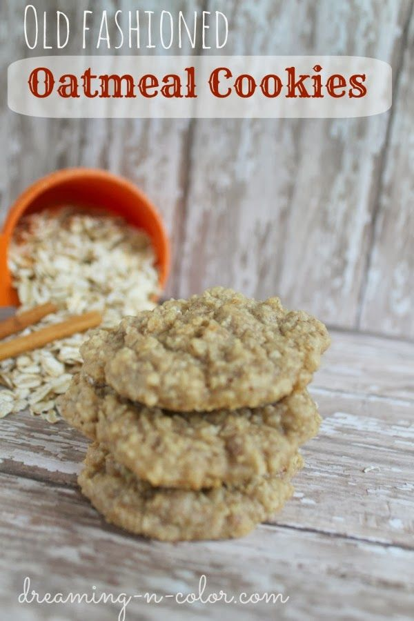 dreamingincolor: Old Fashioned Oatmeal Cookies  If using tablespoon pampered chef scoop, cook for 12 1/2 minutes.