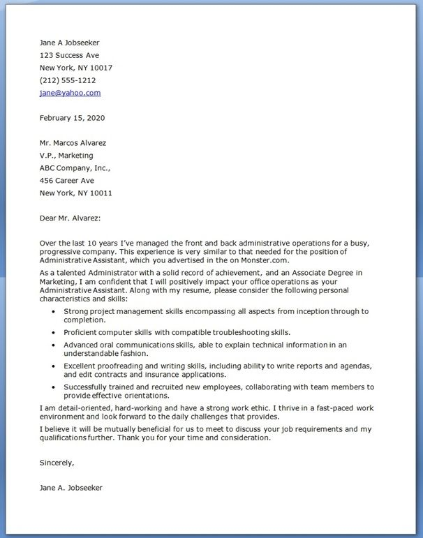 sample cover letter for administrative assistant position