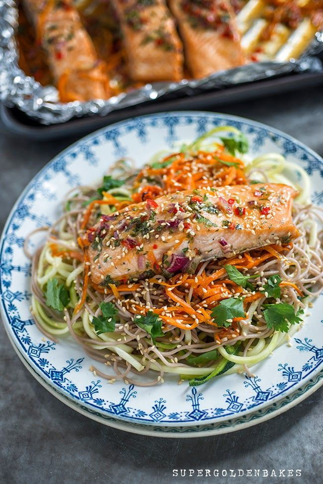 Salmon with soba noodles – celebrating 20 years of Freedom Food supergolden bakes