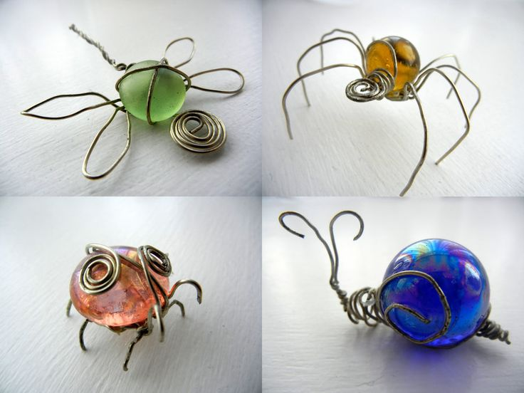 "inspired by Becka Gauld, found the marbles and ""jewels"" randomly around my house lol They range from about 1 inch to 2 inches top left- dragonfly, top right- spider, bottom left- ladybird, bottom r..."
