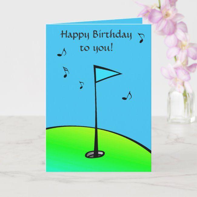 Golf Lovers Blue Green Birthday Card Zazzle Com Birthday Cards Birthday Happy Birthday To You