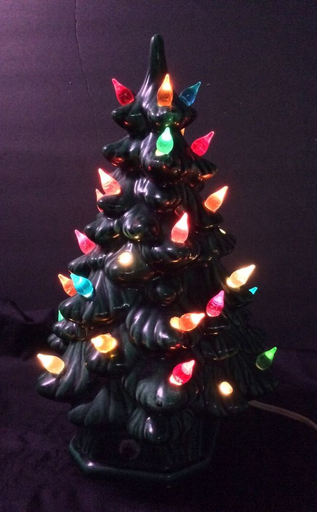 Details About Vintage Ceramic White Christmas Tree W Crackle Glass