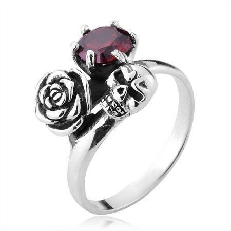 Vintage Deathrose Skull Head Gemstone Ring in Sterling Silver For Women - Zivpin | Jewelry On-line Shop