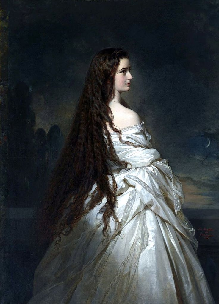 "Franz Xaver Winterhalter: ""Empress Elisabeth of Austria"", 1865, oil on canvas,  Dimensions: 117 × 158 cm (46.1 × 62.2 in), Current location:  Kunsthistorisches Museum, Vienna, Austria."