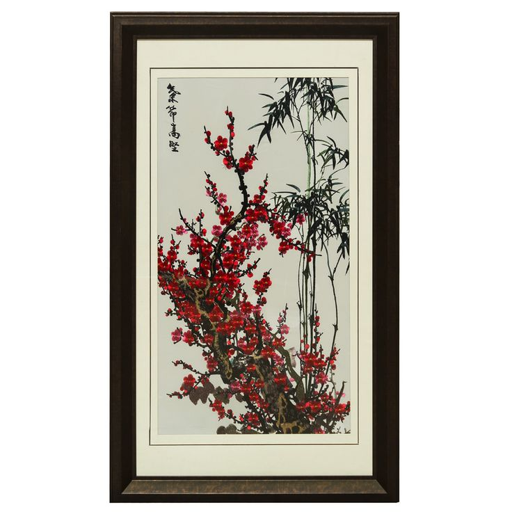 Silk Embroidery Frame with Cherry Blossom and Bamboo