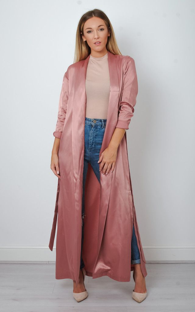 Pink Satin Maxi Duster Jacket - SilkFred