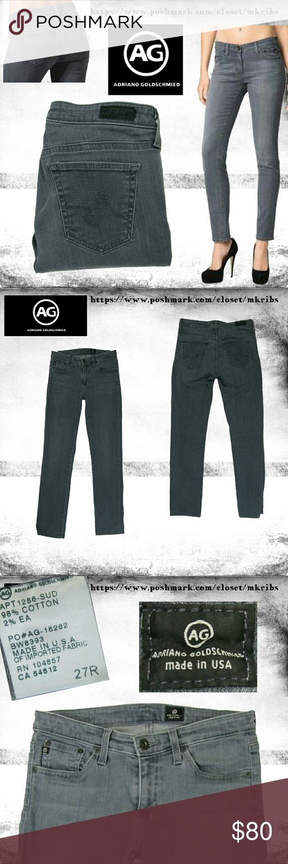 AG Stilt grey Skinny Ankle crop stretch jeans 27 Adriano Goldschmied midrise, skinny, ankle stretch jean with 27 inch inseam. 8 inch rise. A faded dark gray color best shown in the first and 4th photos.  All photos, except the 2 stock photos in the 1st, are taken by me of the jeans that are for sale.  12 inch leg opening. More details and measurements in photos. Excellent condition, free of flaws. NO TRADES PLEASE! REASONABLE OFFERS WELCOME THROUGH OFFER FEATURE ONLY PLEASE! AG Adriano…
