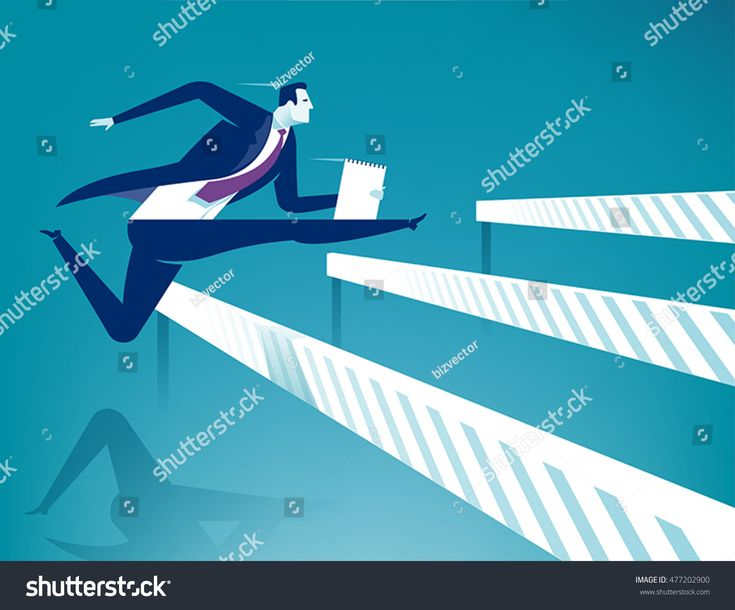 Overcome obstacles. Manager jumping over ascending obstacles like hurdle race. Business vector concept illustration