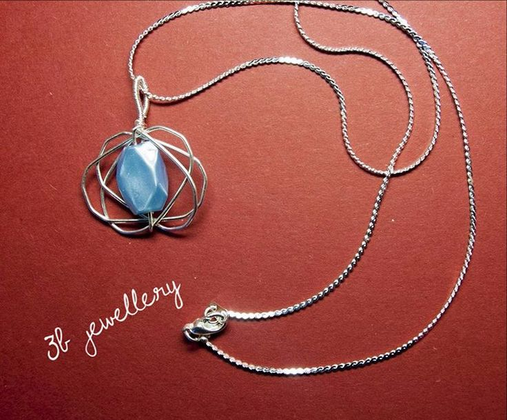 #blue #curly and #flowery #pendant #3bjewellery #wirewrapping #beginner