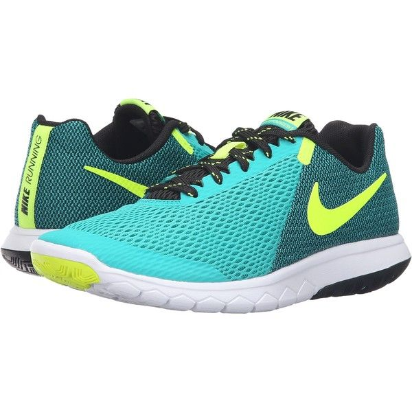 Nike Flex Experience RN 5 (Clear Jade/Volt/Black/White) Women's... ($45) ❤ liked on Polyvore featuring shoes, athletic shoes, blue, blue running shoes, running shoes, blue shoes, athletic running shoes and nike