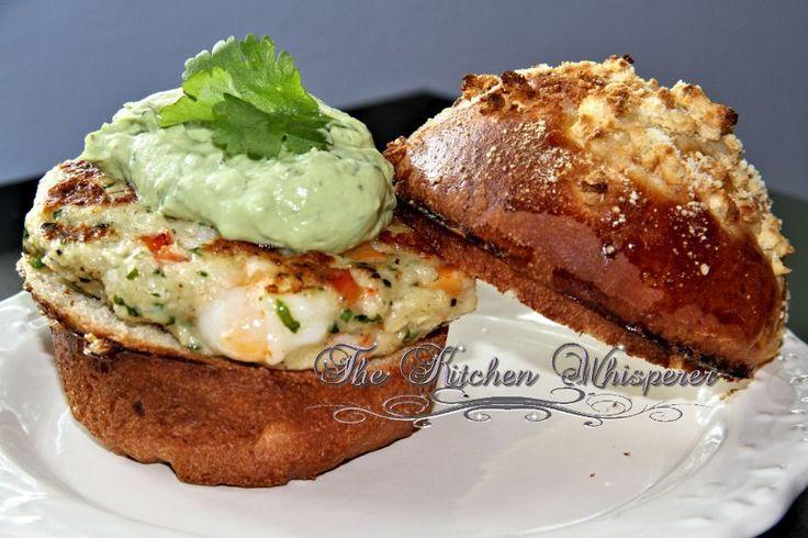 Chunky Shrimp Burgers with Avocado Aioli Sauce -- The Kitchen Whisperer!