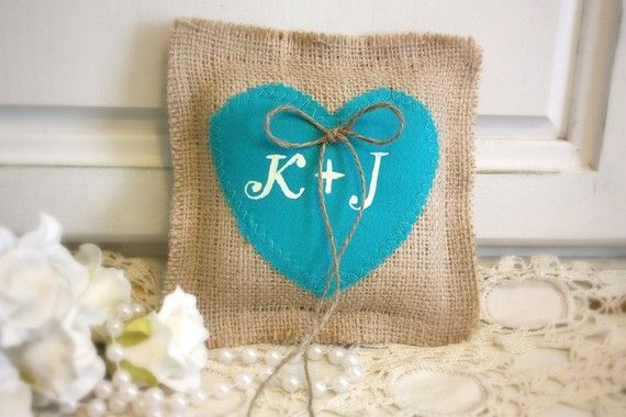 another burlap pillow for the rings with heart shaped in tiffany blue.