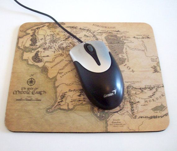 Tolkien Map of Middle Earth Mousepad by GelertDesign on Etsy, £5.50