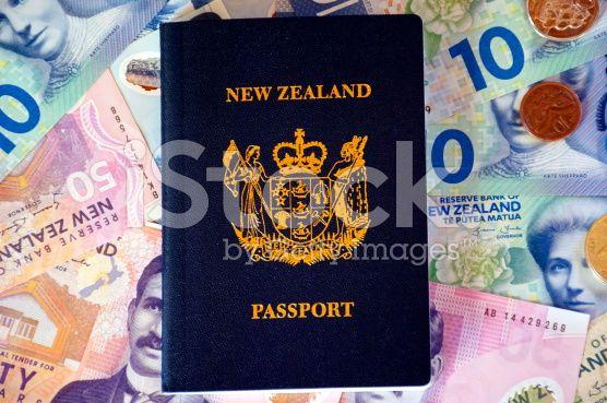 New Zealand Money (NZD) and Passport royalty-free stock photo
