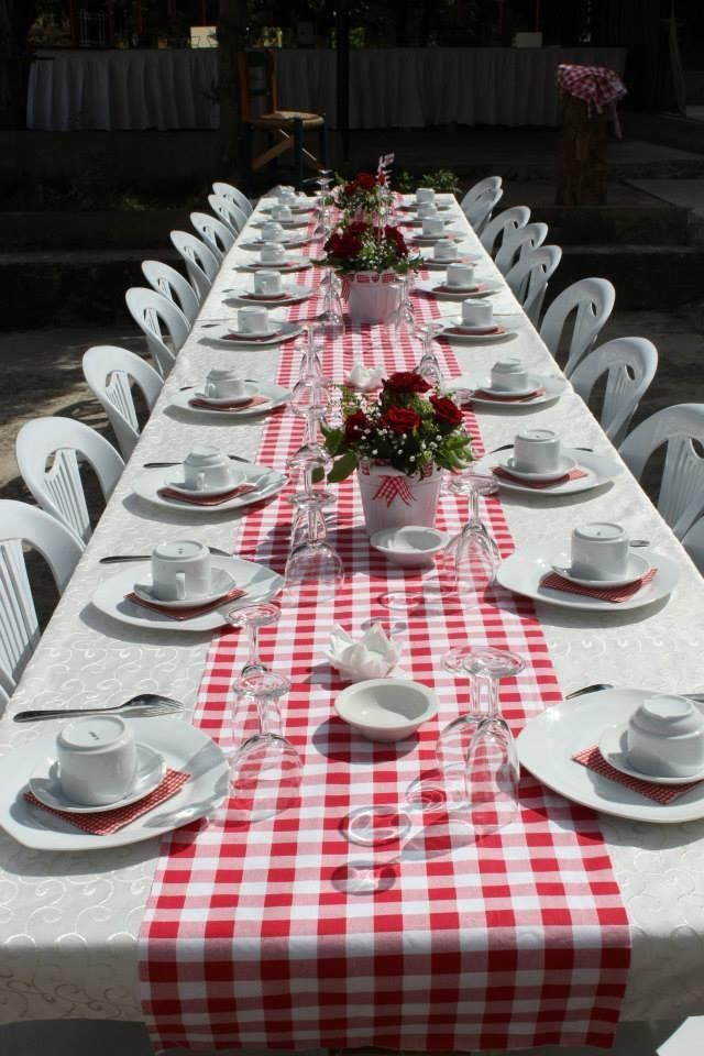#picnic #kitchentea #party #red #white #banner #decoration #table #buffet #handmade #homedecor #diy #crafts #ideas