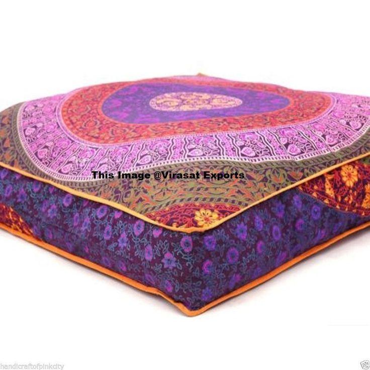 Indian Mandala Floor Cushion Cover Handmade Ottoman Pillows Cases #Handmade #Mandala