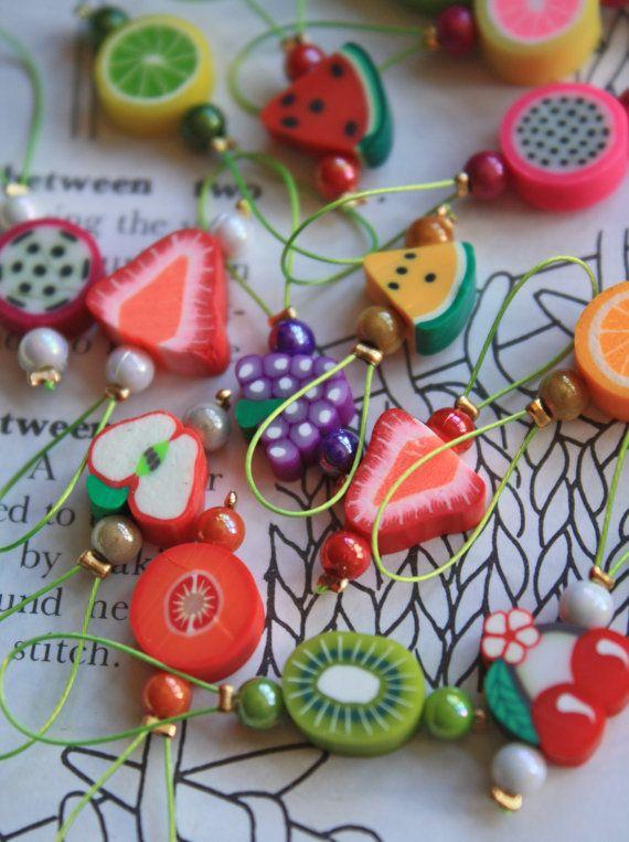 10 knitting stitch markers mixed fruits by CraftyCatKnittyBits