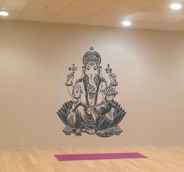 Ik417 Wall Decal Sticker Room Decor Wall Art Mural Indian God Om Elephant Hindu Success Buddha India Ganesha Ganesh Hindu Welfare Bedroom Meditation Yoga