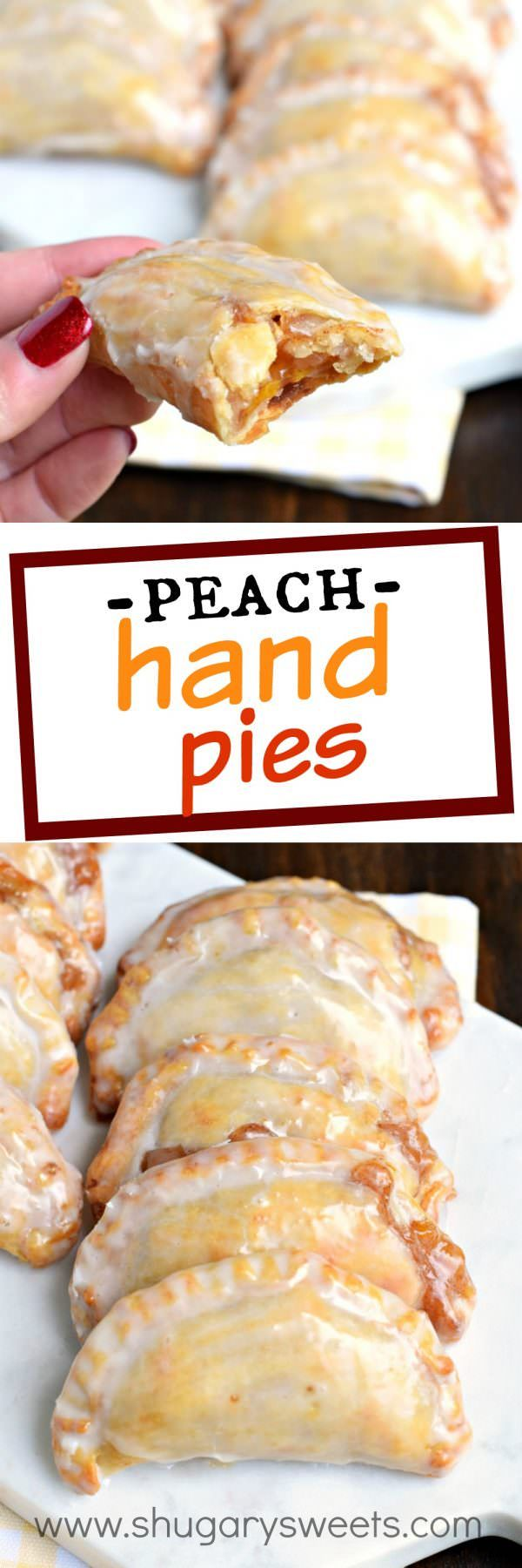 Peach Hand Pies | Shugary Sweets | Dessert is ready in 30 minutes with these Glazed Peach Hand Pies! The flaky crust and spicy cinnamon filling are the perfect combo in a hand pie, plus they're baked not fried!