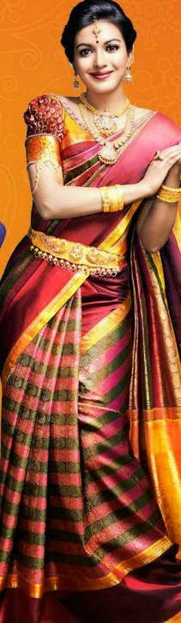 South Indian bride. Temple jewelry. Kanchipuram silk sari.Braid with fresh flowers. Tamil bride. Telugu bride. Kannada bride. Hindu bride. Malayalee bride. Kajal Agarwal