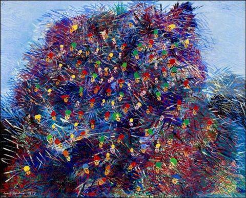 Inari Krohn: Naamiaiset, 1969, öljy kankaalle, 65x81 cm - Artnet