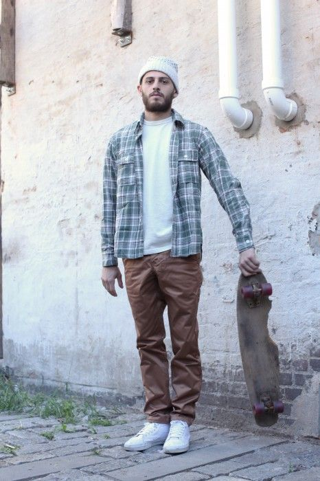Battenwear Work Shirt, Green Plaid; Norse Projects Natural Beanie, Old White; Norse Projects Aros Heavy Chino, Cacao; Vans Sk8-Hi, White
