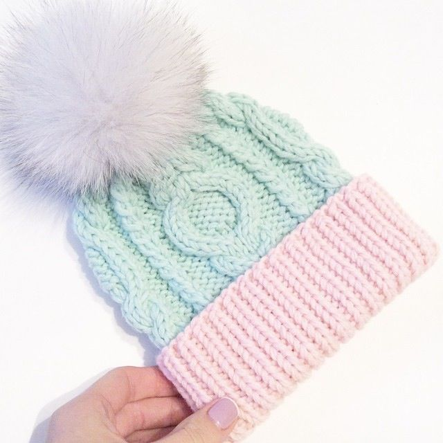 Pink and mint baby hat
