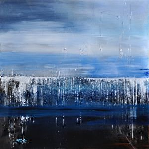 """SOLD to buyer from Ohio - Ocean Landscape Abstracts """"Extended Energy"""" Size: 20"""" x 20"""" Medium: Acrylic & Mixed Medium Substrate: Canvas & Acrylic Panel"""
