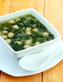 Spinach and Chick Pea Soup recipe | by Tarla Dalal | Tarladalal.com | #39143