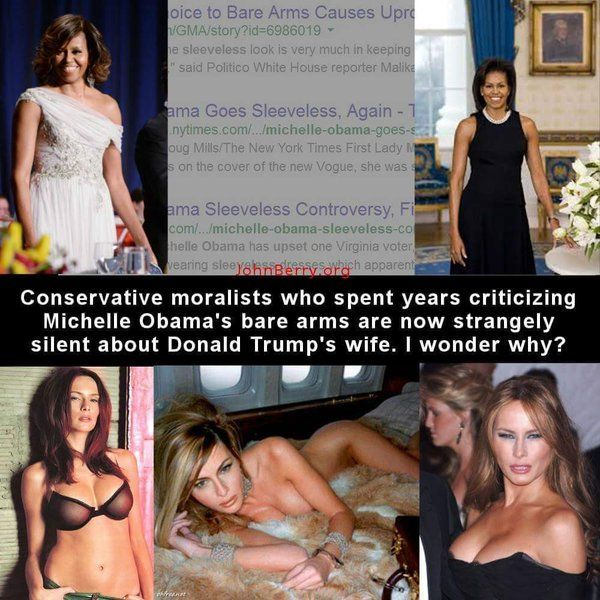 "I've seen the freak-outs when Michelle Obama displays her toned ""guns"" in a sleeveless dress.  Trump's wife doesn't even wear clothes, and that's just fine with their sensibilities."