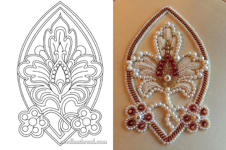 My latest pearl embroidery (Larissa B.) Pomegranate flower, free design by Mary Corbet. NeedleandThread. Worked in freshwater pearls, red spinel beads, cord, purl, etc. 7 inches high.