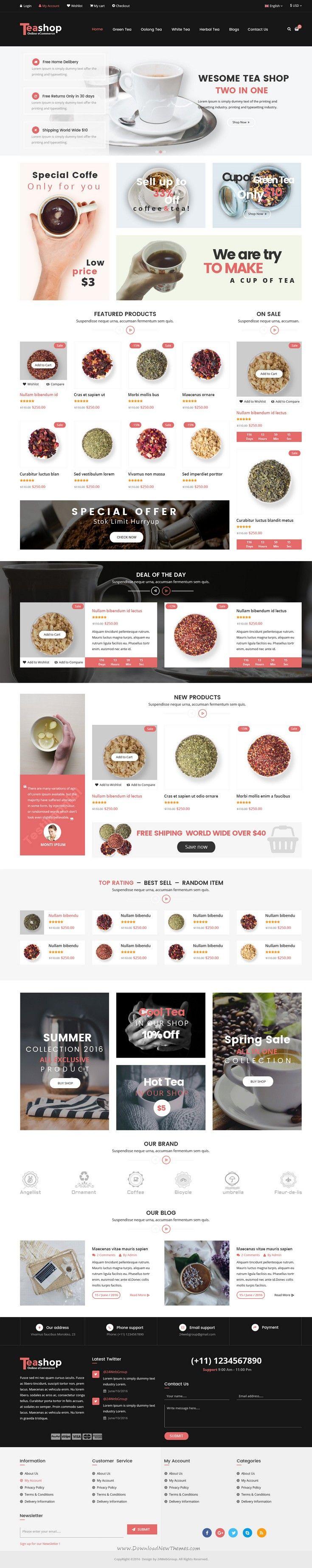 TeaShop is wonderful premium PSD Template for multipurpose eCommerce website. #tea #coffee #shop Download Now!