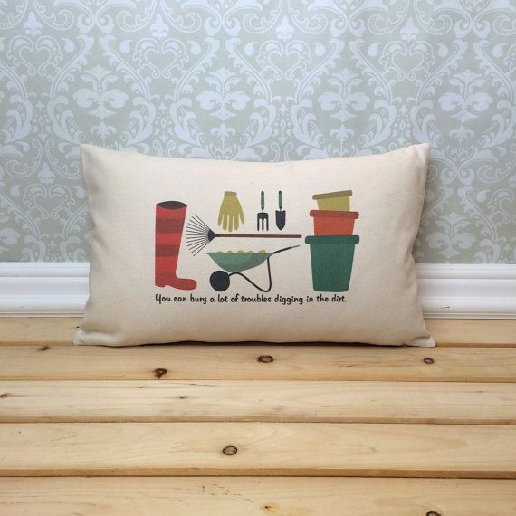 Gardening Pillow Cover and Insert Gardener от henhouseoriginals
