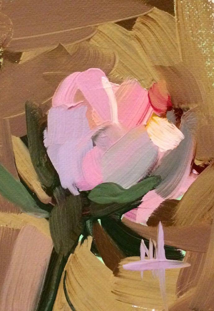 Pink Rose no. 16 original oil painting Angela Moulton ACEO Art #Impressionism