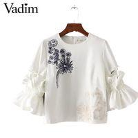 Женщины винтаж цветочная вышивка бабочки рукавом вернуться молния белый блузка о шеи дамы ретро повседневная топы blusas LT1793