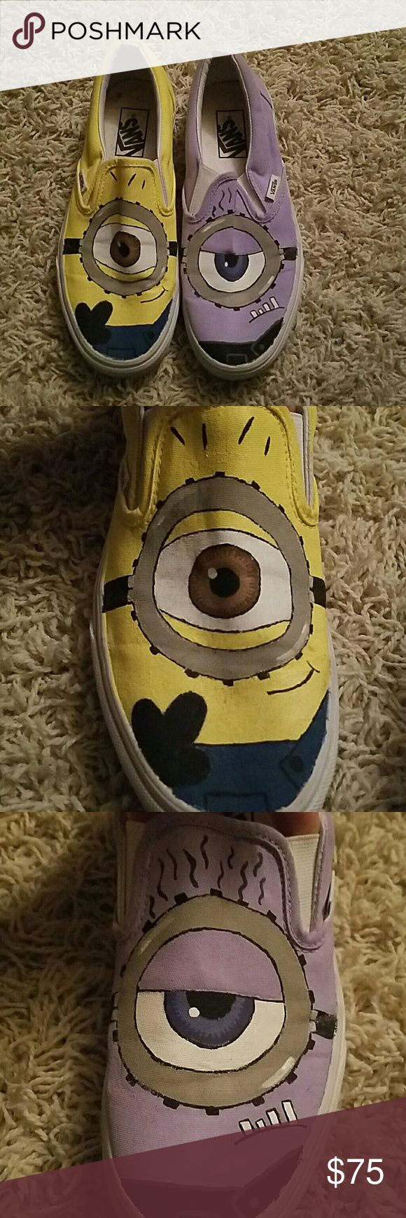 Original Minion hand painted Van shoes Originally white Van's, I decided to hand paint these shoes like the minions one like the original yellow ones and then one like the purple crazy minions from the second movie. They have only been worn twice. Since the new movie is coming out, I thought this would be the perfect time to sell these. Hopefully some minion fan will be able to wear these more and appreciate them more! Vans Shoes Sneakers