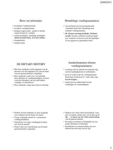 Methodieken Voedingsanamnese Skillslab Eetgewoonten En