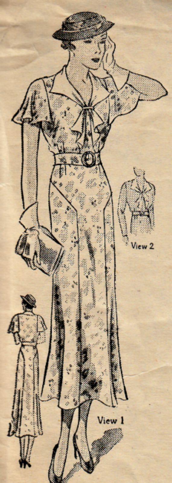 Monde modèle la femme 5255  Patron de robe Vintage des années 1930: dimanche robe motif caractéristiques pans jupe, corsage avec manche deux options--longue slim-fit et col cape ou un papillon manchon. Tour de taille fronces apportent une touche féminine. Très jolie et ce serait magnifique dans une soie ou mousseline de soie tissu.  CIRCA 1930  Buste 38  Non imprimé motif complet et en bon état. Enveloppe en excellent état.  Aime ce modèle, mais il nest pas votre taille ? Voici deux façons…