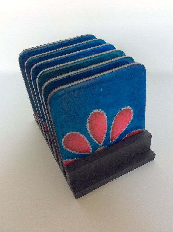 Coasters and wooden base handmade painted wood by FucsiaDesigns
