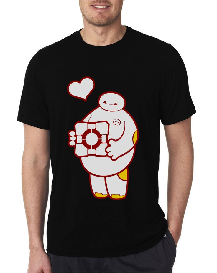 Companion Assistant Hero T Shirts Baymax Heart Black Tee